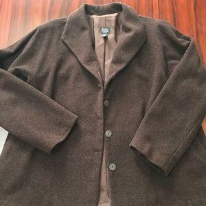 Brown Lined Wool Eileen Fisher Coat